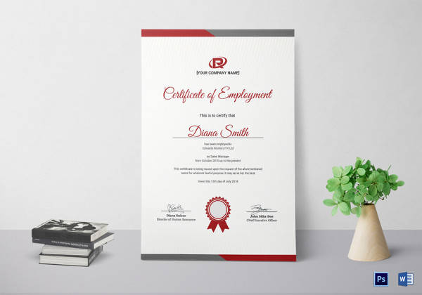 productive employment certificate template