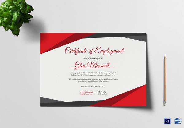 proficient employment certificate template