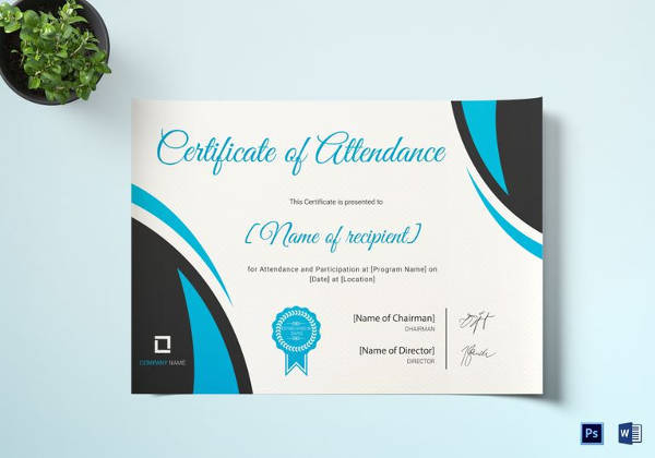 program attendance certificate template