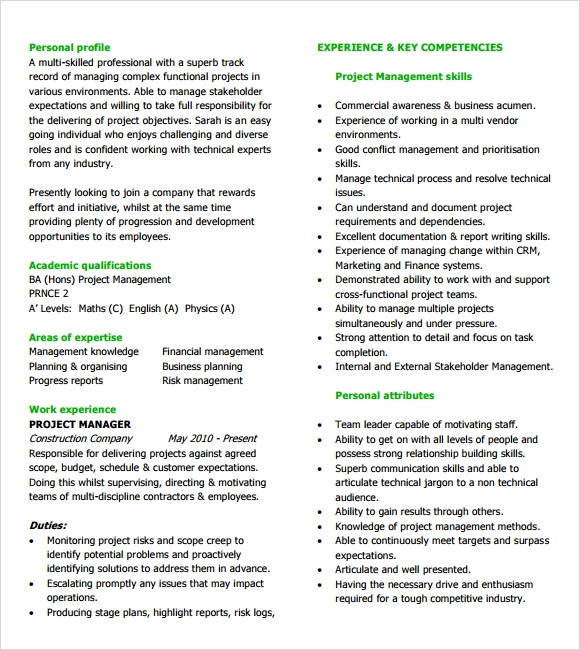 Project Manager Resume Templates - Download in Documents PDF , PSD ...