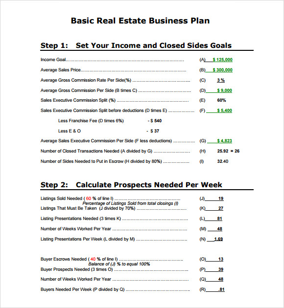 10 real estate business plan templates sample templates real estate business plan outline wajeb Images