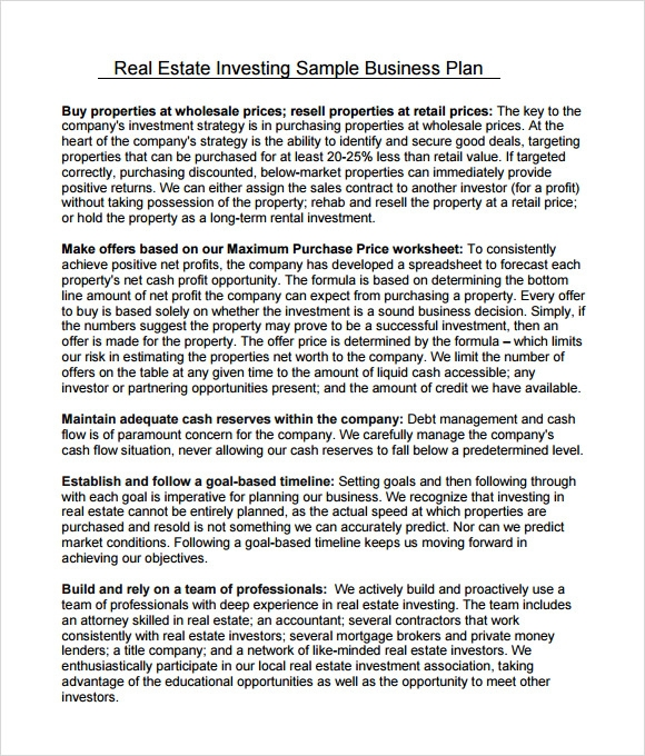 Business plan for real estate brokerage - Order essay