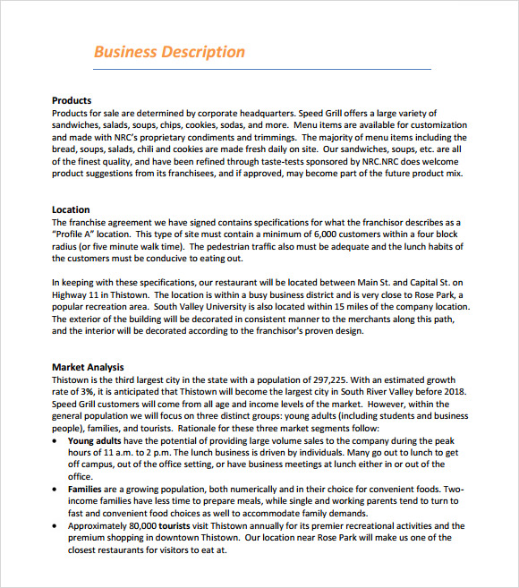 restaurant sample business plan outline
