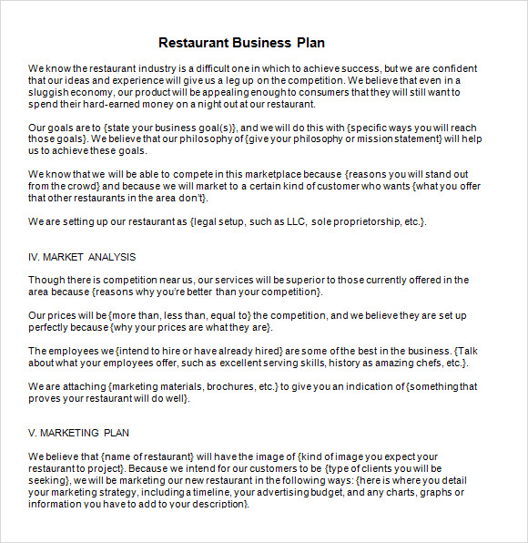 restaurant business plan samples free