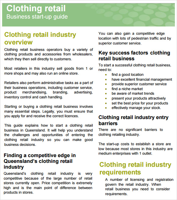 Clothing retailers business plan
