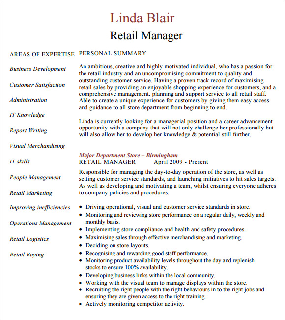 Sample Retail Resume - 9+ Documents In Pdf, Word, Psd
