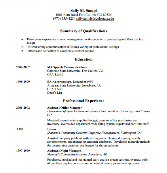 Sample Retail Resume   Documents In Pdf Word Psd