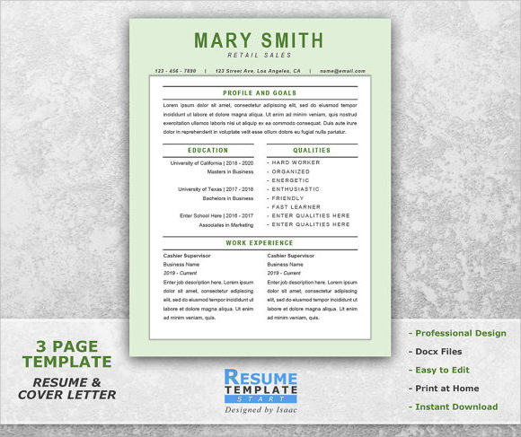 retail resume template word