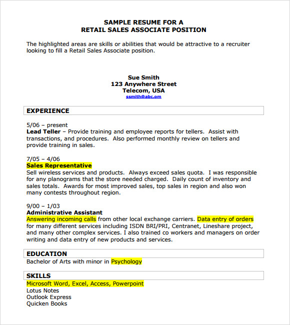 retail sales resume template