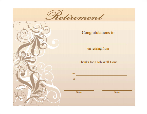 8 Sample Retirement Certificate Templates To Download Sample Templates