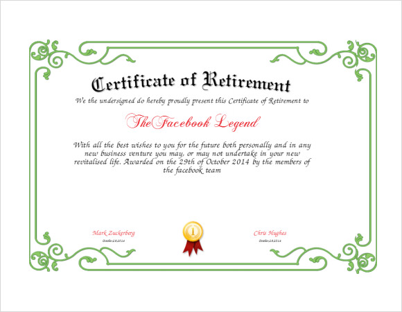 8 sample retirement certificate templates to download sample templates retirement certificate template pdf yadclub Images