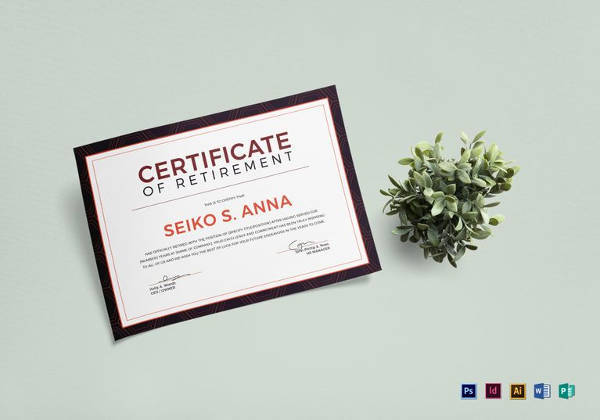 8 sample retirement certificate templates to download