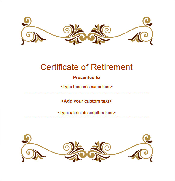 Retirement Certificate Template   Download Documents In Pdf Word