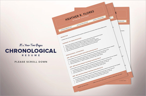 Chronological Resume Templates  Download Documents In Pdf  Word