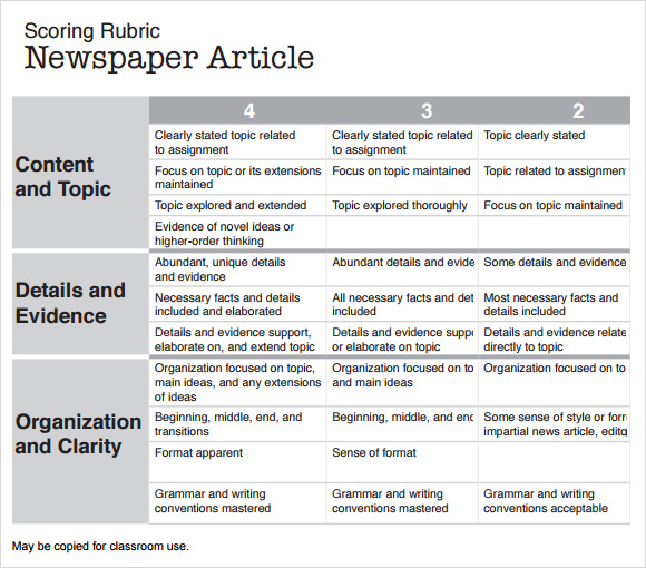 iRubric: WRITING A NEWSPAPER ARTICLE- Junior Grades rubric