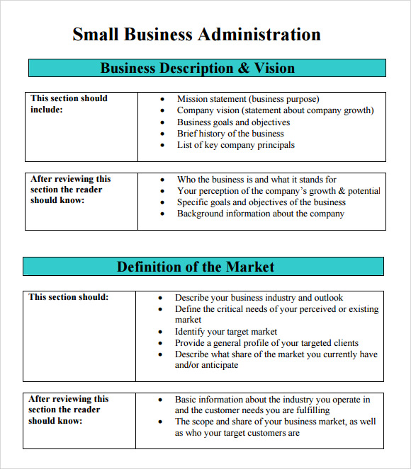 sba business plan example