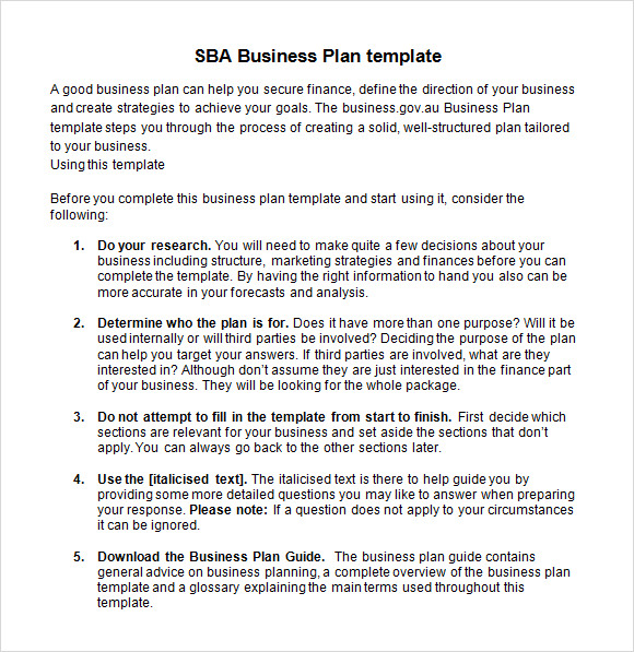 Sample SBA Business Plan Template 6 Free Documents in PDF Word – Business Strategy Template Word