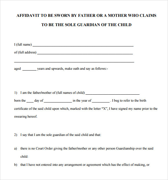 Sample Sworn Statement   Documents In Word Pdf