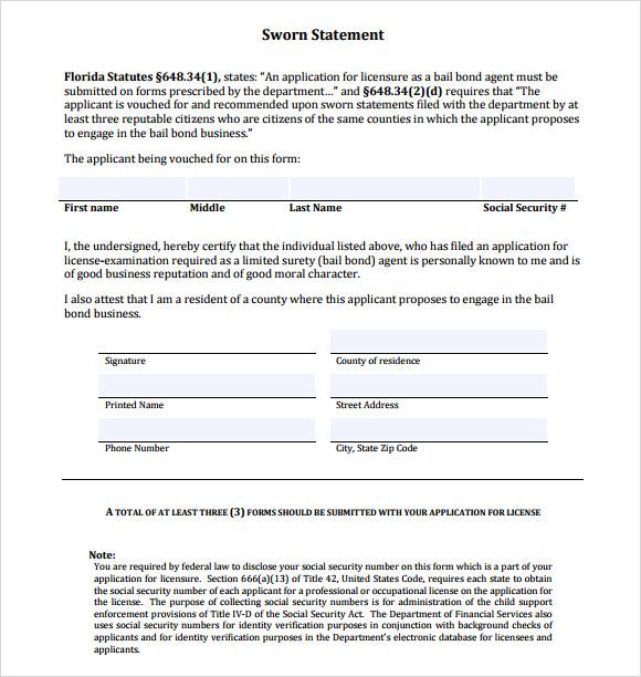 SWORN Statement Form