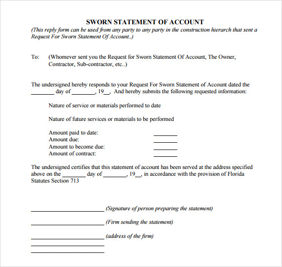 Sample Sworn Statement - 12+ Documents in Word, PDF