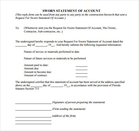 Write an affidavit sworn statement