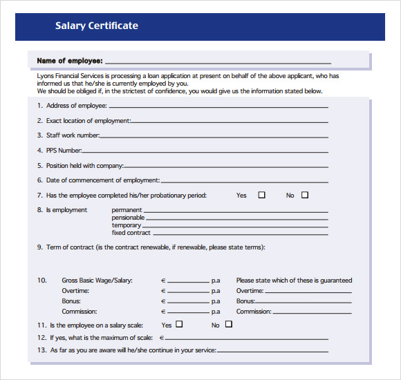 Sample Salary Certificate Template 21 Documents in PDF Word – Salary Certificate Format Download