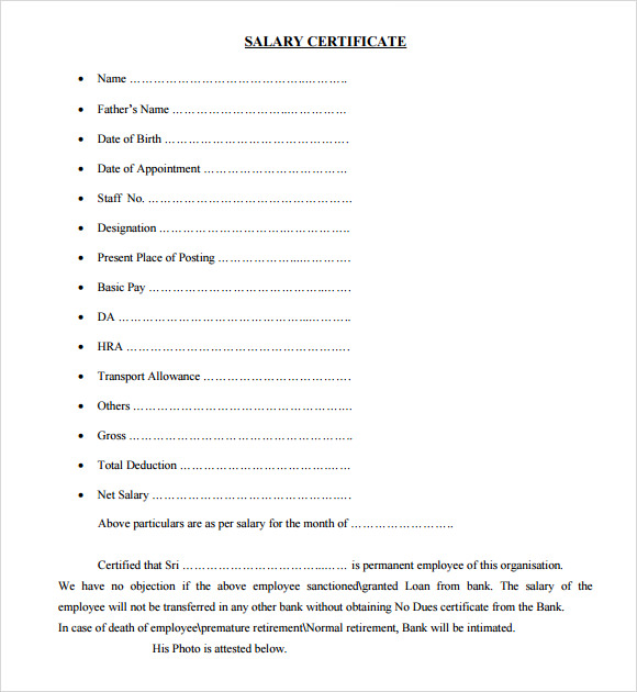 Sample Salary Certificate Template 21 Documents in PDF Word – Employee Certificate Sample