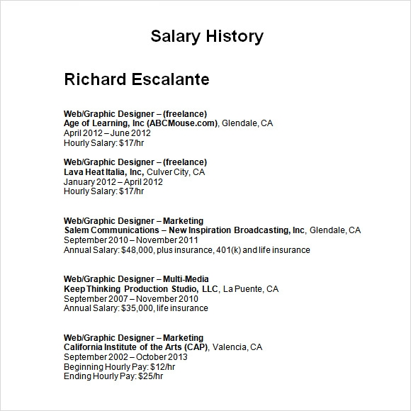 salary history template hourly 9 sample salary history templates to download for free