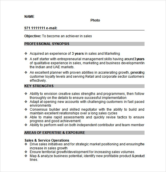 10 Sample Sales Resume Templates To Download Sample