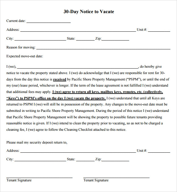 11 30 day notice templates sample templates for Template for 60 day notice to vacate