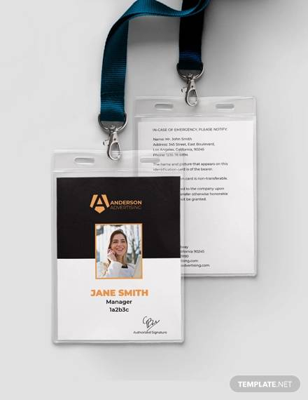 sample advertising agency id card