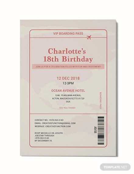 sample boarding pass invitation