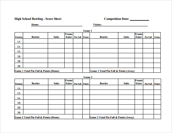 Sample Bowling Score Sheet   Documents In Pdf Psd Word Excel