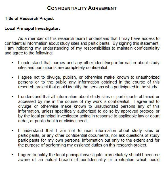 sample confidentiality agreement in ms word