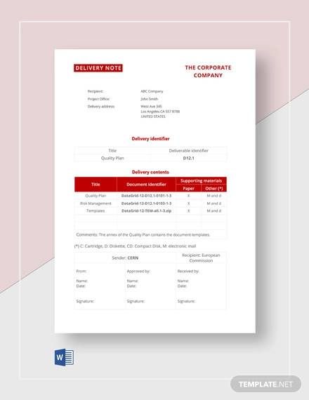 sample delivery note template1