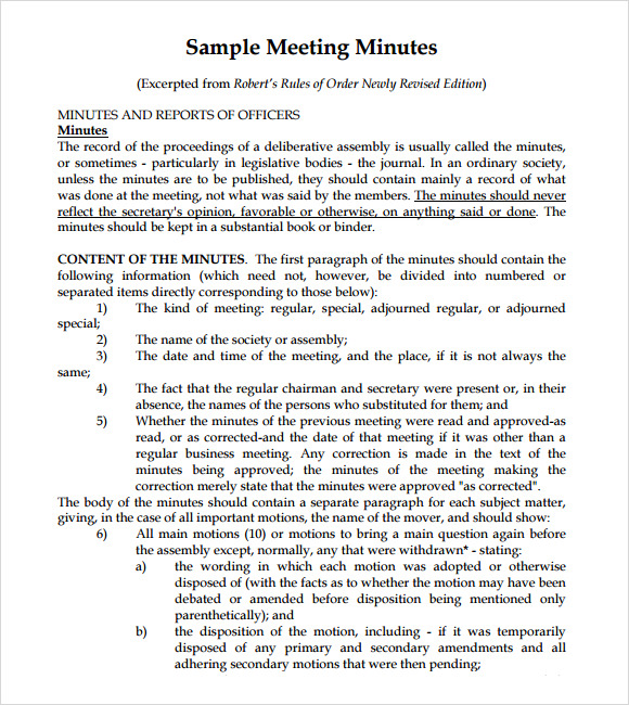 10 useful meeting notes templates to download sample for How to take minutes at a board meeting template