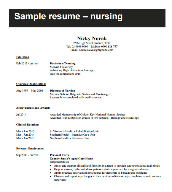 Free 8 Sample Nursing Resumes In Pdf Word Psd