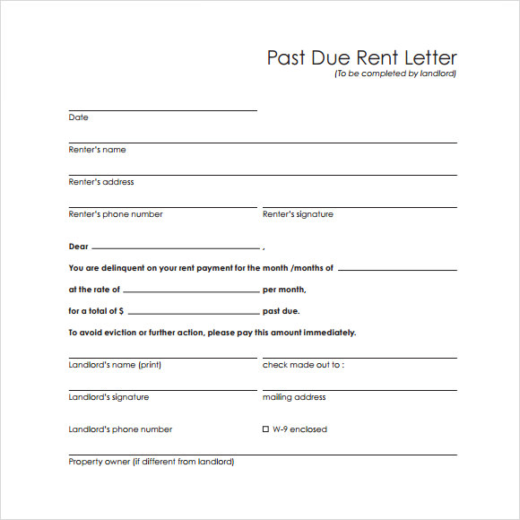 Past Due Rent Letter Template  Letter Template