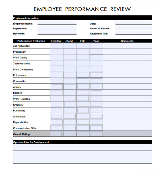Performance Review Sample   Documents In Pdf Word