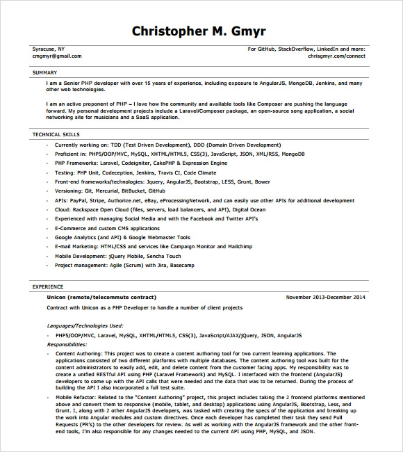 core java resume