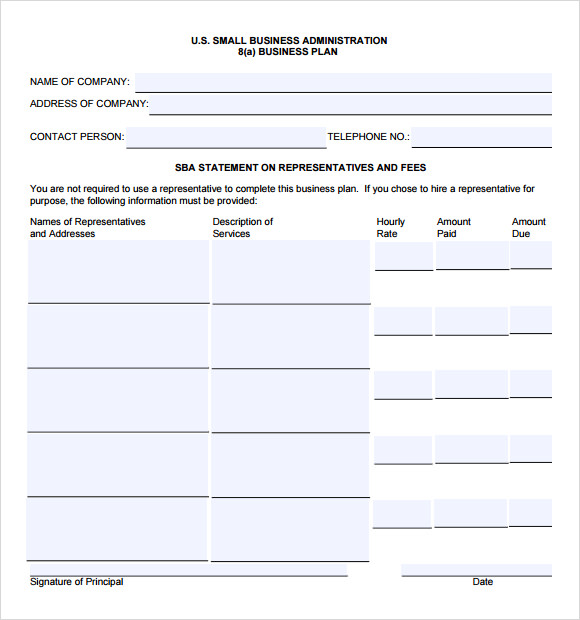sample sba business plan template