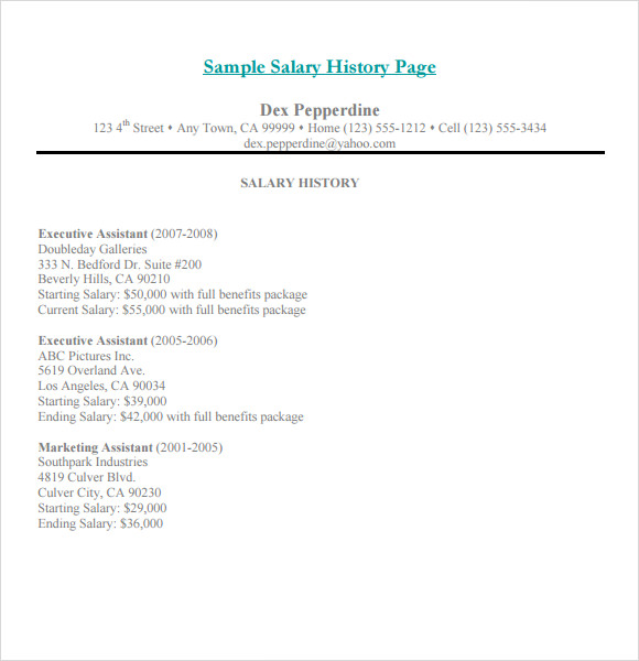 Salary History Template   Download Free Documents In Pdf  Word