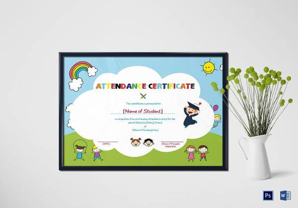 school students attendance certificate in word