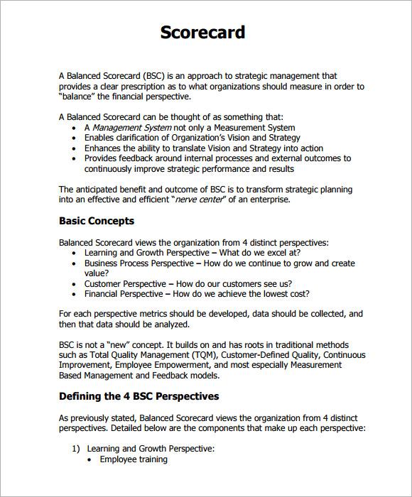 scorecard template pdf