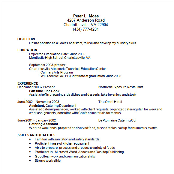 14 useful sample chef resume templates to download