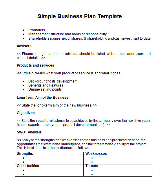 simple business plan template 9 download documents in pdf word