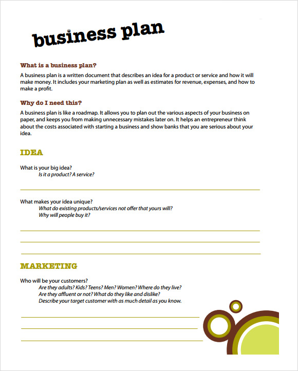 How to write a business plan template free