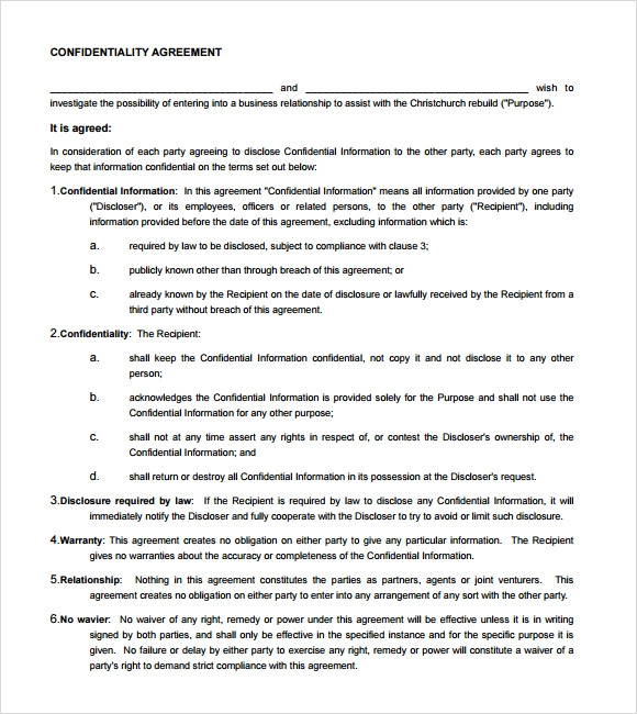 privacy contract template - 7 sample confidentiality agreements sample templates