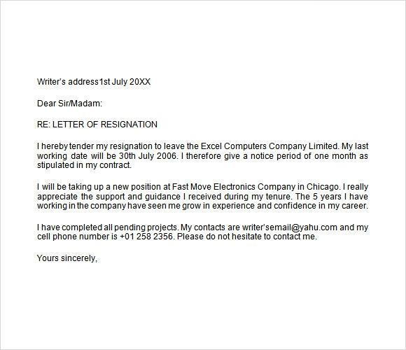 simple letter of resignation samples