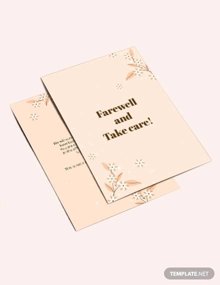 simple office farewell card template